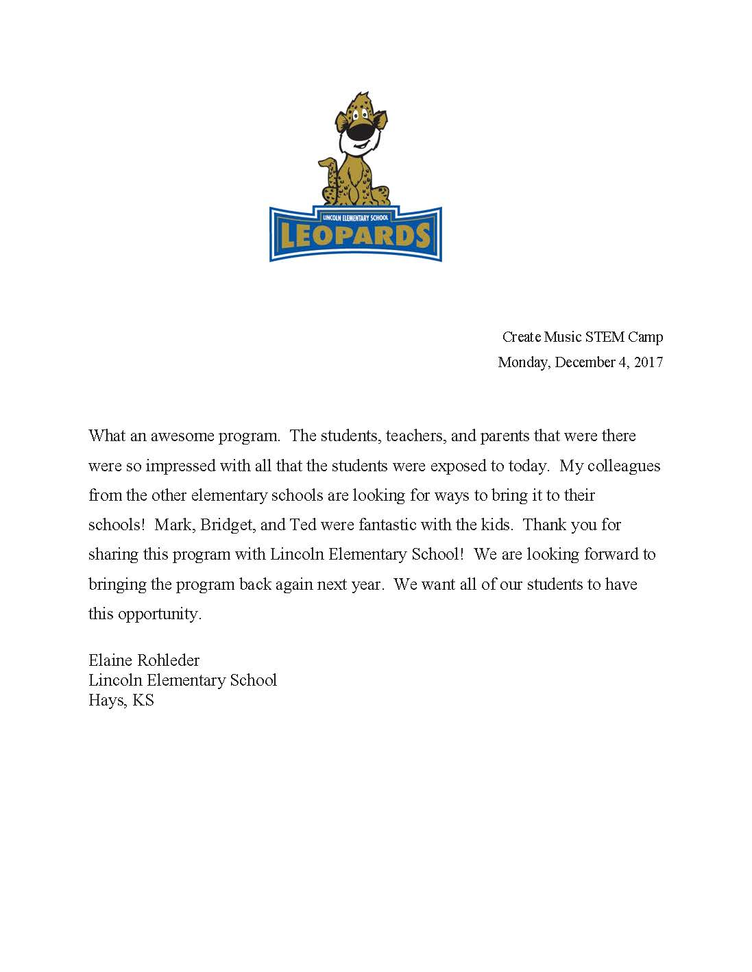 Lincoln Elementary Reference Letter