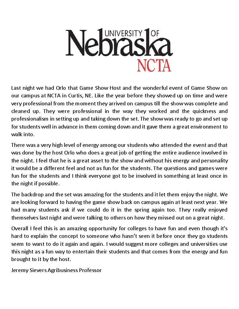 Game Show - 10.17.14 - University of Nebraska