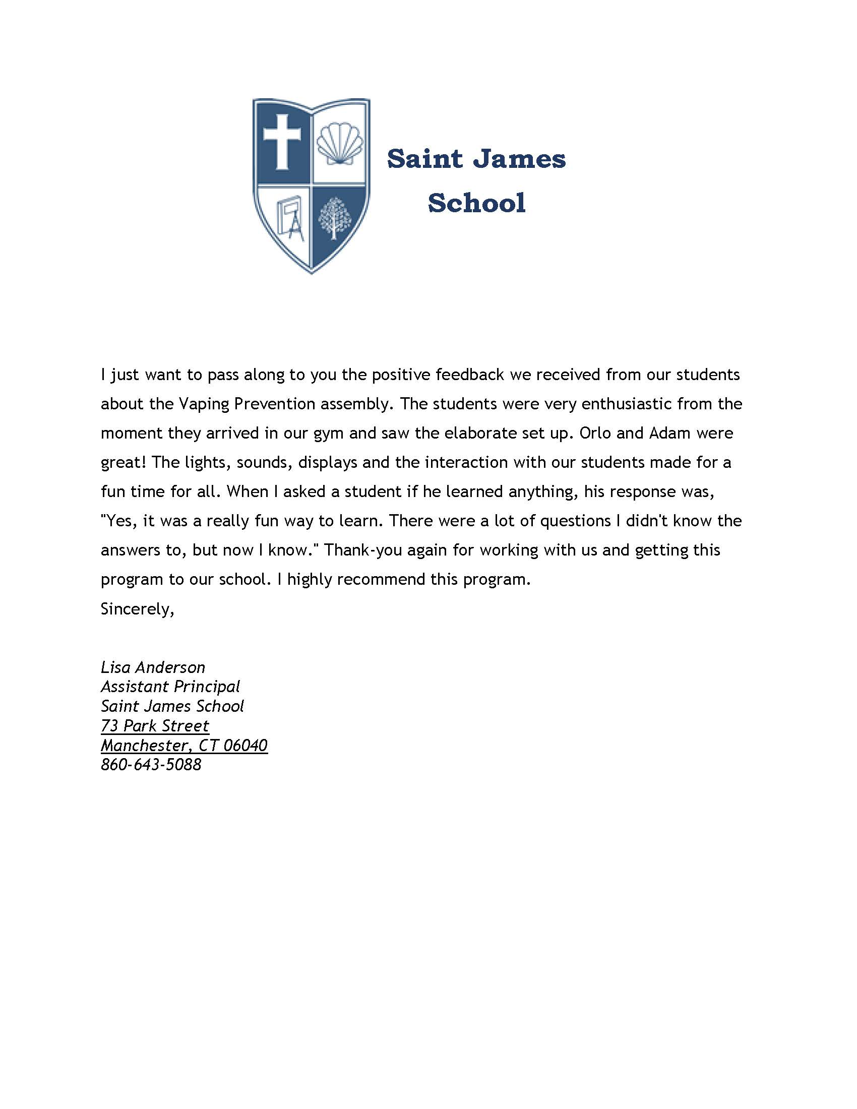 RCGS -Vaping Prevention - Saint James School - 1-8-20